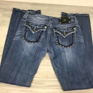 Miss Me Boot Cut Jeans Weave Embellishment Pocket